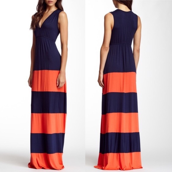 d3fd20ba74 Go Couture Striped V Neck Maxi Dress